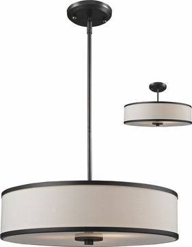 Z-Lite 165-20 Cameo Crème/Bronze 19.5  Wide Drum Pendant Lamp / Ceiling Light