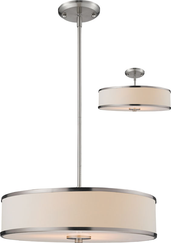 Z Lite 183 20 Cameo Brushed Nickel 53 5 Nbsp Tall Drum Pendant Light Fixture Loading Zoom