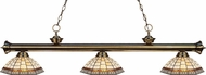 Z-Lite 200-3AB-Z14-35 Riviera Antique Brass Multi Colored Tiffany Kitchen Island Light Fixture