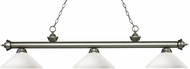 Z-Lite 200-3AS-AMO14 Riviera Antique Silver Angle Matte Opal Kitchen Island Lighting