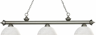 Z-Lite 200-3AS-DWL14 Riviera Antique Silver Dome White Linen Kitchen Island Lighting