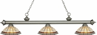 Z-Lite 200-3AS-Z14-35 Riviera Antique Silver Multi Colored Tiffany Kitchen Island Light Fixture