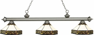 Z-Lite 200-3AS-Z16-30 Riviera Antique Silver Multi Colored Tiffany Island Light Fixture
