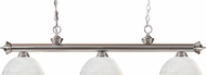 Z-Lite 200-3BN-DWL14 Riviera Brushed Nickel Dome White Linen  Island Light Fixture