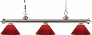 Z-Lite 200-3BN-PRD Riviera Brushed Nickel Red Kitchen Island Light Fixture