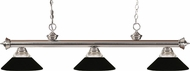Z-Lite 200-3BN-RMB Riviera Brushed Nickel Clear Ribbed Glass and Metal Matte Black Kitchen Island Light Fixture