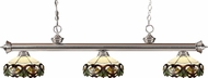Z-Lite 200-3BN-Z14-33 Riviera Brushed Nickel Multi Colored Tiffany Island Lighting