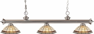 Z-Lite 200-3BN-Z14-35 Riviera Brushed Nickel Multi Colored Tiffany Kitchen Island Light
