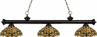 Z-Lite 200-3BRZ-C14 Riviera Bronze Multi Colored Tiffany Kitchen Island Light