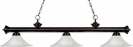 Z-Lite 200-3BRZ-FWM16 Riviera Bronze Fluted White Mottle Island Lighting