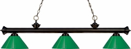 Z-Lite 200-3BRZ-PGR Riviera Bronze Green Kitchen Island Light Fixture