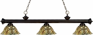 Z-Lite 200-3BRZ-R14A Riviera Bronze Multi Colored Tiffany Kitchen Island Light