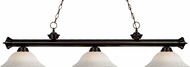 Z-Lite 200-3BRZ-WM16 Riviera Bronze White Mottle Kitchen Island Light Fixture
