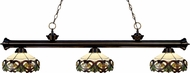 Z-Lite 200-3BRZ-Z14-33 Riviera Bronze Multi Colored Tiffany Kitchen Island Light