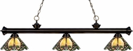 Z-Lite 200-3BRZ-Z14-37 Riviera Bronze Multi Colored Tiffany Kitchen Island Light Fixture