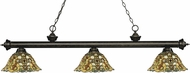 Z-Lite 200-3GB-R14A Riviera Golden Bronze Multi Colored Tiffany Kitchen Island Light Fixture