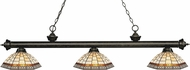 Z-Lite 200-3GB-Z14-35 Riviera Golden Bronze Multi Colored Tiffany Island Light Fixture