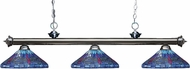 Z-Lite 200-3GM-D16-1 Riviera Gun Metal Multi Colored Tiffany Kitchen Island Light Fixture