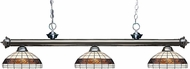 Z-Lite 200-3GM-F14-1 Riviera Gun Metal Multi Colored Tiffany Island Light Fixture