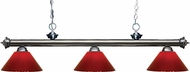 Z-Lite 200-3GM-PRD Riviera Gun Metal Red Island Light Fixture