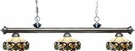 Z-Lite 200-3GM-Z14-33 Riviera Gun Metal Multi Colored Tiffany Kitchen Island Lighting
