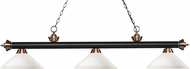 Z-Lite 200-3MB-AC-AMO14 Riviera Matte Black / Antique Copper Angle Matte Opal Kitchen Island Light Fixture