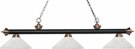 Z-Lite 200-3MB-AC-AWL14 Riviera Matte Black / Antique Copper Angle White Linen Kitchen Island Light Fixture