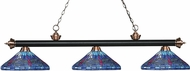 Z-Lite 200-3MB-AC-D16-1 Riviera Matte Black / Antique Copper Multi Colored Tiffany Kitchen Island Lighting