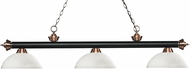 Z-Lite 200-3MB-AC-DMO14 Riviera Matte Black / Antique Copper Dome Matte Opal Island Light Fixture