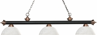 Z-Lite 200-3MB-AC-DWL14 Riviera Matte Black / Antique Copper Dome White Linen Kitchen Island Light Fixture