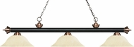 Z-Lite 200-3MB-AC-GM16 Riviera Matte Black / Antique Copper Golden Mottle Island Lighting