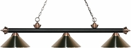Z-Lite 200-3MB-AC-MBN Riviera Matte Black / Antique Copper Brushed Nickel Kitchen Island Light
