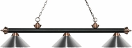 Z-Lite 200-3MB-AC-MCH Riviera Matte Black / Antique Copper Chrome Island Light Fixture