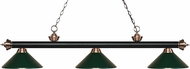 Z-Lite 200-3MB-AC-MDG Riviera Matte Black / Antique Copper Dark Green Kitchen Island Light Fixture