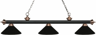 Z-Lite 200-3MB-AC-MMB Riviera Matte Black / Antique Copper Matte Black Kitchen Island Lighting