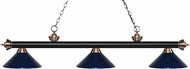Z-Lite 200-3MB-AC-MNB Riviera Matte Black / Antique Copper Navy Blue Kitchen Island Light