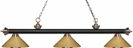 Z-Lite 200-3MB-AC-MPB Riviera Matte Black / Antique Copper Polished Brass Island Light Fixture