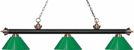 Z-Lite 200-3MB-AC-PGR Riviera Matte Black / Antique Copper Green Island Lighting