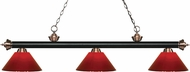 Z-Lite 200-3MB-AC-PRD Riviera Matte Black / Antique Copper Red Kitchen Island Lighting