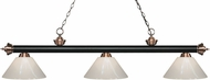 Z-Lite 200-3MB-AC-PWH Riviera Matte Black / Antique Copper White Kitchen Island Light