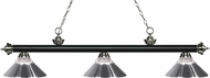 Z-Lite 200-3MB-BN-RCH Riviera Matte Black / Brushed Nickel Clear Ribbed Glass and Chrome Kitchen Island Light