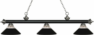 Z-Lite 200-3MB-BN-RMB Riviera Matte Black / Brushed Nickel Clear Ribbed Glass and Matte Black Kitchen Island Light Fixture