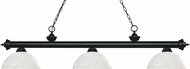 Z-Lite 200-3MB-DWL14 Riviera Matte Black Dome White Linen Kitchen Island Light Fixture