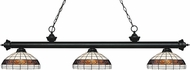 Z-Lite 200-3MB-F14-1 Riviera Matte Black Multi Colored Tiffany Island Lighting