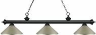 Z-Lite 200-3MB-MAS Riviera Matte Black Antique Silver Kitchen Island Lighting