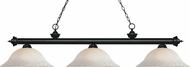 Z-Lite 200-3MB-WM16 Riviera Matte Black White Mottle Kitchen Island Light Fixture