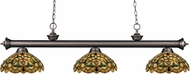 Z-Lite 200-3OB-C14 Riviera Olde Bronze Multi Colored Tiffany Kitchen Island Light Fixture