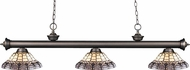 Z-Lite 200-3OB-H14-4 Riviera Olde Bronze Multi Colored Tiffany Kitchen Island Light