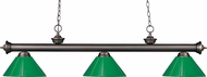 Z-Lite 200-3OB-PGR Riviera Olde Bronze Green Kitchen Island Light