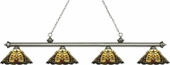 Z-Lite 200-4AS-Z14-46 Riviera Antique Silver Multi-Coloured Tiffany Island Lighting